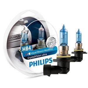 Kit Lâmpada Philips Crystal Vision Ultra Hb4 55W 12v 4300k